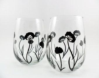 Stemless Wine Glasses Black Flower Contemporary Modern Design Hand Painted Set of 2