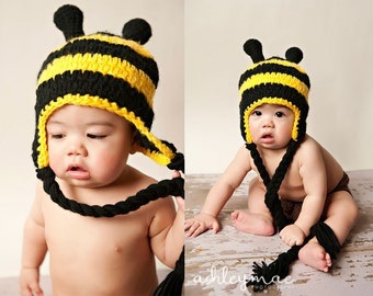 Crochet Pattern, Bumble Bee Hat Pattern - Instant Download Crochet Pattern