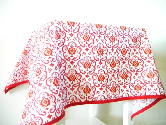 Red Ikat Table Cloth, Bohemian Table Cloth, Square Table Cloth, Small Table Cloth, Red Home Decor, Cotton TableCloth, Table Linens