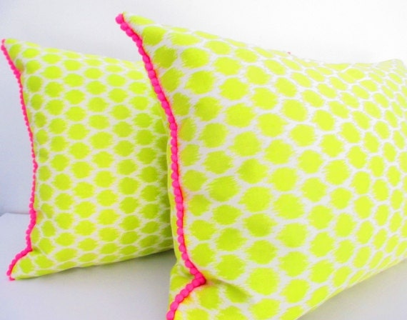 Green and Pink Ikat Pillow, 12 x16 Lumbar Pillow Decorative Pillows Lime Green Pillows with Hot Pink Pom Pom Fringe Set of 2