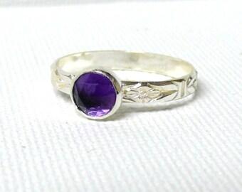 Silver amethyst ring rose cut gemstone ring sterling silver ring purple ring silver stacking ring