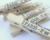 Paris France French Post Mark Stamped Clothespins Set of 5 -- your choice of color