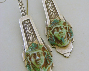 Earrings -  Art Deco Earrings - Egyptian - Vintage Brass - handmade jewelry