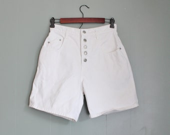 Vintage 80s Great Outdoors White Denim Shorts Women S - Button Fly