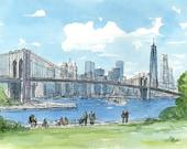 Brooklyn Bridge, New York, art print from an original watercolor painting