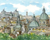Rome Panorama Italy  art print from an original watercolor painting
