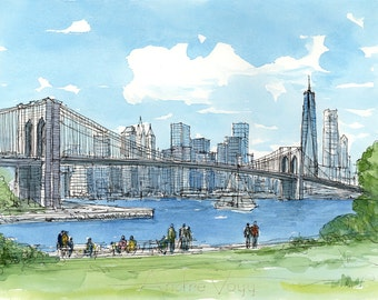 Brooklyn Bridge, New York, art print from an original watercolor painting
