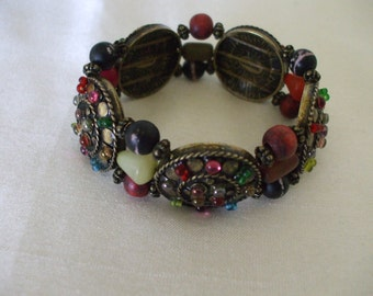 Chico's Signed Bracelet,  Multi Colored Stone,  Stretchable,