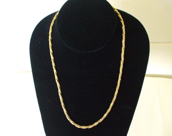 "Gold Tone Braided Necklace, Vintage, 80s, 18"" , Shiny"