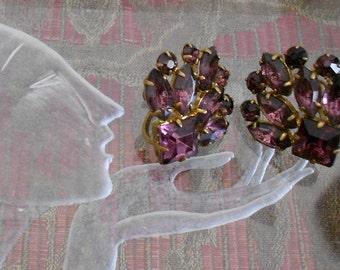 1950's Amethyst Colored Stone Earrings
