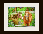 Two Horses in Back Field - PRINT