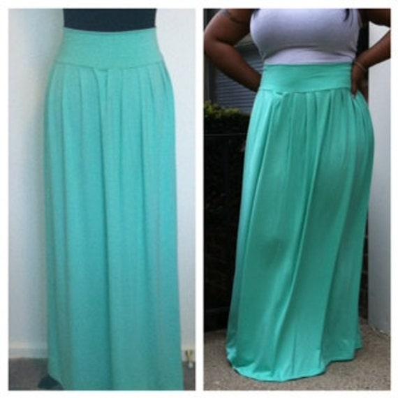 mint green pleated maxi skirt
