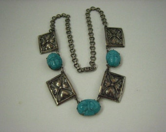 Vintage Silver Tone Metal Rectangular Panel Egyptian Revival Aqua Glass Scarab Ovals Necklace  .....2280
