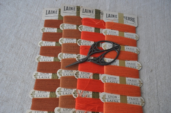 Vintage French Woollen Thread Cards - Set of 4 - Burnt Orange to Russet
