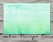 Ombre Watercolor Recipe Card - 4x6