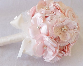 Satin and Lace Bridal Bouquet in Blush Pink and Ivory