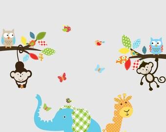 Giraffe,elephant,monkey nursery wall decal sticker vinyl branch set jungle decal