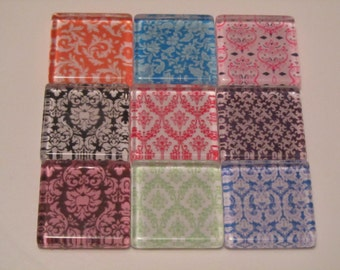 Damask Refrigerator Magnets, Set of 9 Fridge Magnets