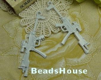 2pcs  High Quality  Enameled Coating Gun Pendant/Charms,66 x 27mm - White