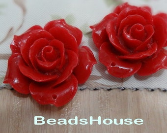 4 pcs Pretty Rose Cabochon 34mm (0657-19R) -True Red