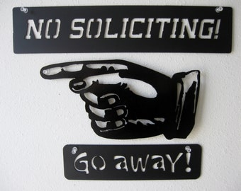 No Soliciting Go Away Metal Signs Wall Hanging Decoration