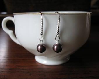 Burgundy Pearl Earrings