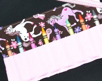 Pink Cowgirl Crayon Roll - My Little Pony Birthday Party Favor - Michael Miller - Girls Easter Gift - Crayon Holder - Stocking Stuffer