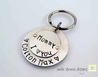 Mother's Day Gift - Keychain Personalized Kids Names - Kid's Print Font - Mommy Gift - Children's Names - Hand Stamped Gift