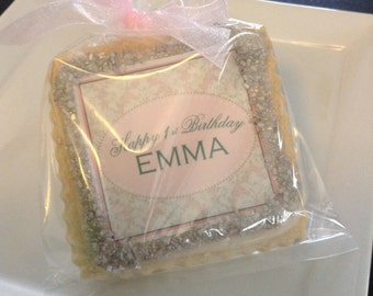 First birthday personalized cookie favors