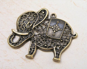 6 pcs charming elephant, Antiqued Brass Plated Charms Pendant