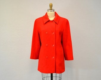 Pendleton RED wool pea coat hipster classic  double breasted winter christmas fashion warm Medium Large IngridIceland