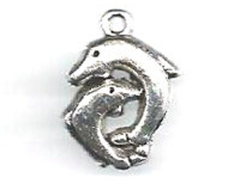 Lead Free Pewter Twin Dolphin Charm  (EF11666)   SRA-D84