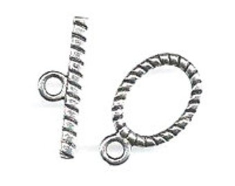 Lead Free Pewter Twisted Rope Oval Toggle   (EF10951)   SRA-D84