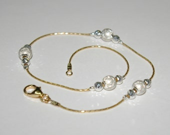 14kt Gold Filled Chain with Sterling Silver 925 Beads Two Tone ANKLET - Handcrafted - Custom made to your size - Free Shipping Worldwide
