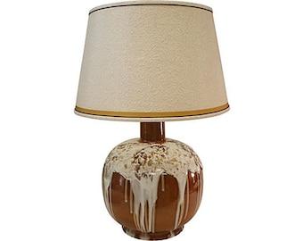 Creamy White Marshmallow Drip Glaze Large Round Amber Brown Ceramic Lamp with Original Shade
