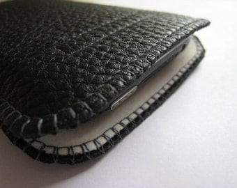 Custom-made - black, fine leather cell phone case