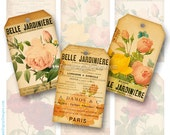 Botanical Gift Tags, Rose Collage Sheet, Printable Tags, Aged Paper and Flower Labels