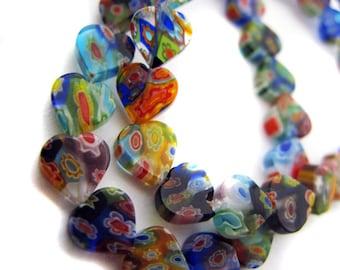 Mixed Heart Millefiori Beads - CG91