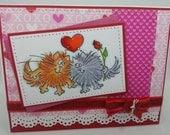 Handmade Card, Greetings, Gift, Valentine, Stampendous, Kittens - Fluffles Love Couple