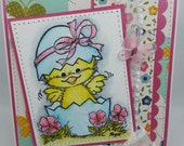 Handmade Card, Greetings, Gift, Easter Chick Watercolored