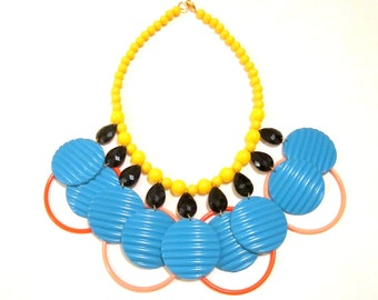 Summer Delicatessen - Yellow Blue Pink Plastic Vintage Beads Statement Necklace