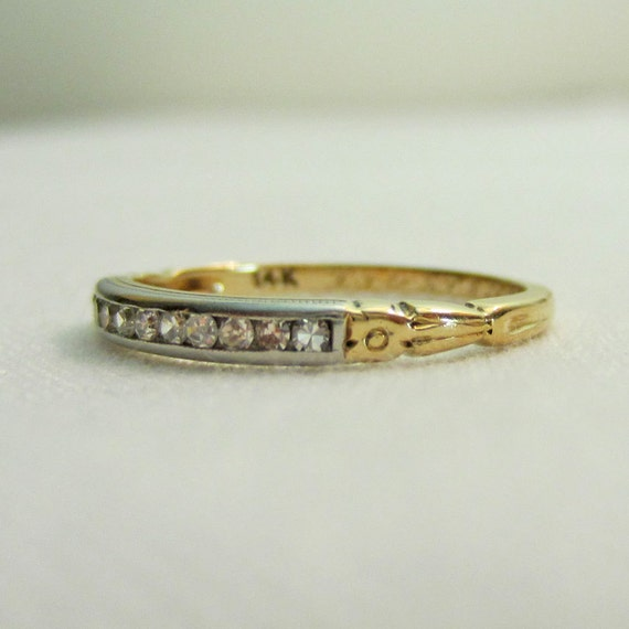 Vintage Diamond Wedding Ring. 1930s White and Yellow Gold. Circa 1939, Two Toned Gold.
