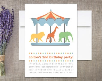Carousel Birthday Invitation, Safari Animals