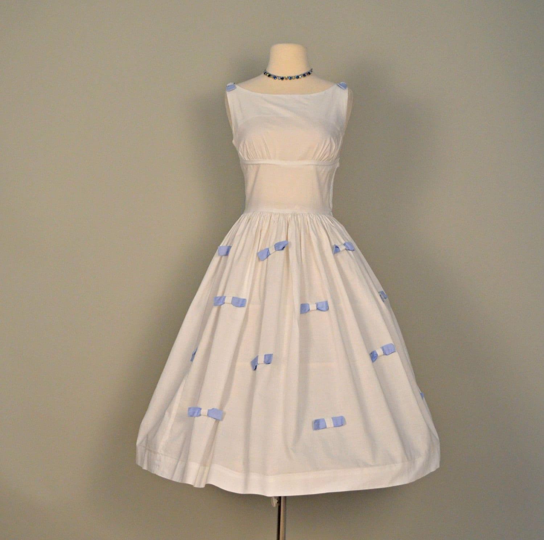 Vintage 1950s Wedding Dress Darling Short White Cotton