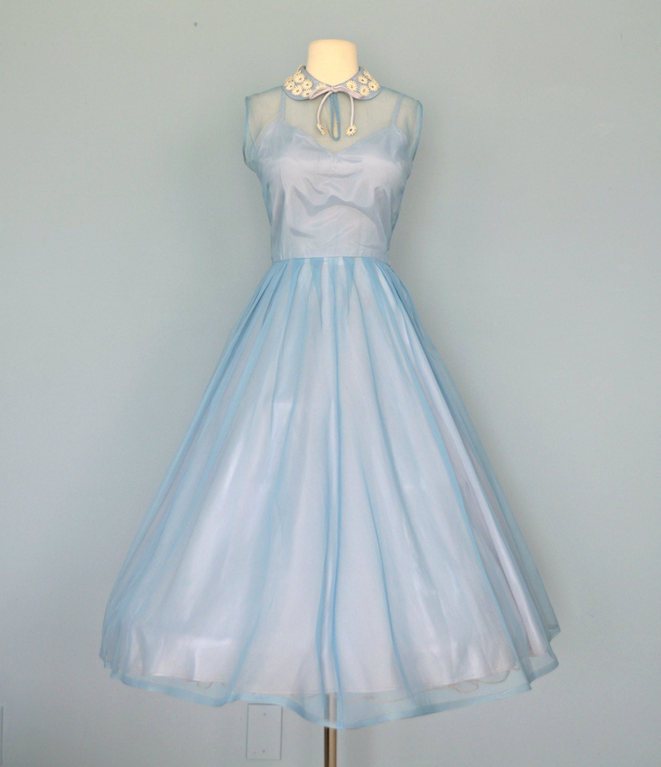 vintage 1950s wedding dress pale cornflower blue dale lynn