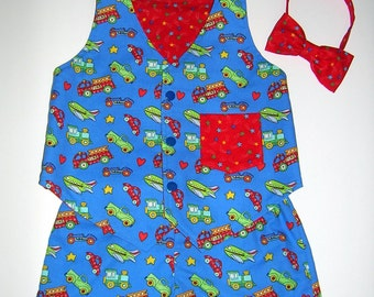 Toddler Reversible Vest, Bow Tie, and Shorts Outfit, Cars/Trucks/Fire Trucks/Trains/Airplanes/Race Cars, Size 2T,  Ready to Ship