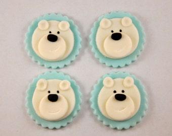 Polar Bear Fondant Cupcake or Cookie Toppers- Edible- Color Customizable- 1 Dozen