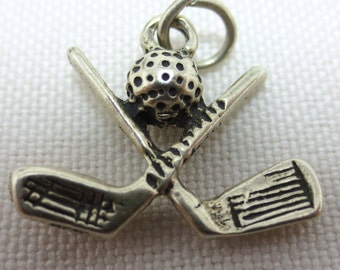 GOLF BALL and CLUBS  Sterling Silver Charm or Pendant