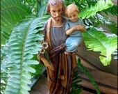 Estate Sale Fresh - from Aunt Dots Sister Mary Graces Catholica Collection - Large Statue of Saint Joseph Cradling the Christ Child