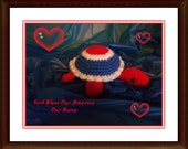 "USA, Patriotic Turtle, Crocheted, Amigurumi  6"" Long    Use coupon code:  NEWYEAR13 for 10% savings"